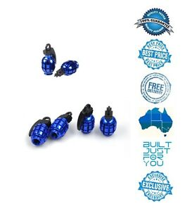 BLUE 4 x Grenade Car Truck Bike Tyre Tire Valve Stem Caps Covers Accessories