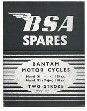 BSA Parts Manual Book 1949, 1950, 1951, 1952, 1953 & 1954 Bantam D1 125cc