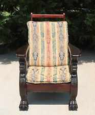 Antique 19th c Carved Mahogany Reclining Morris Chair Winged Lions & Paw Feet