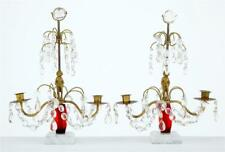 PAIR OF 1950's CUT GLASS CANDLEBRA WITH MARBLE BASE