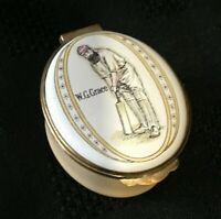 "Crummles Enamel Pill Box - ""W. G. Grace"" Cricket Theme"
