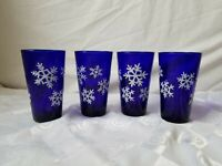 Libbey Cobalt Tumbler Highball Set of 4 Glass Overlay Rigaree Snowflakes Vintage