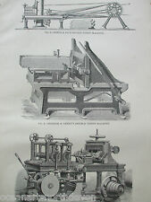 ANTIQUE PRINT DATED C1880S ENGRAVING WOOD MACHINERY POWIS DOUBLE TENON MACHINE
