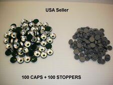 200 Set 20mm Serum Vial Snap On Stoppers Aluminum Flip Off Crimp Cap Seal Lot G