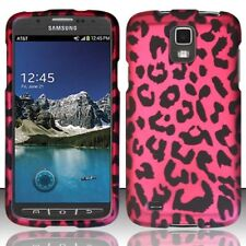 For Samsung Galaxy S4 Active i537 Rubberized Design Case Cover - Pink Leopard