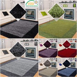 Fluffy Rug Modern Border Design Shaggy Mat Living Room Hall Carpet Small X Large