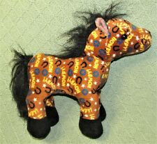 "GANZ HOWDY HORSE WEBKINZ 10"" PLUSH STUFFED ANIMAL BROWN TAB BLACK HM756 TOY"