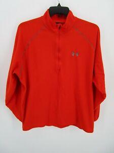Under Armour Men Size XL Orange Fleece Sweatshirt 1/4 Zip Pullover Mock Neck