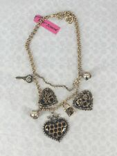 BETSEY JOHNSON Leopard Polka Dot Triple Lucite Heart Charm Layered Necklace NWT