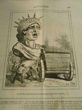 Caricature 1878 - Statue de la Liberté La Tête américaine qui Paris en pleure