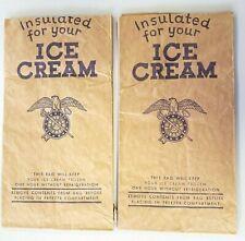 L👀K 2 Vintage Patriotic Paper Insulated Ice Cream Bags Sword & Skeleton Key Wow