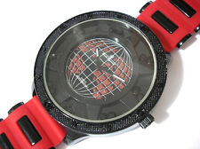 Iced Out Bling Bling Big Case Rubber Band Globe Dial Men's Watch Red / Black