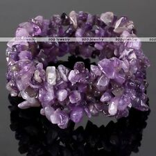 Natural Amethyst Chips Stone Bead Healing Cuff Stretchy Bangle Bracelet Jewelry