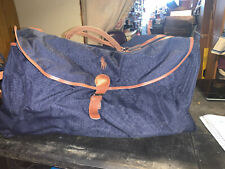 POLO RALPH LAUREN Duffle Bag Navy Blue Canvas Overnight Weekend Travel Carry On