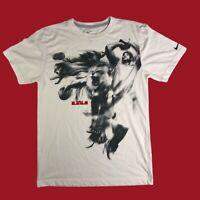 """Nike Lebron James Dri-Fit T-Shirt White """"Lion King"""" Men's Size Small EUC"""