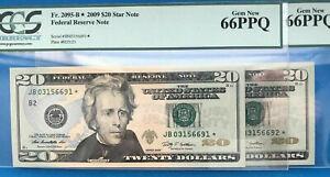 2009 $20 FRN (( 2 - Consecutive STARS )) PCGS Gem 66PPQ # JB03156691 & 6692*-