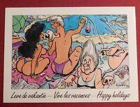 Carte postale Walthéry. SCÈNES DE VACANCES n°12. Carte signée par WALTHERY.