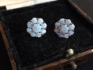 Vintage Style Jewellery Opal Flowers Earrings 18K White Gold Plated