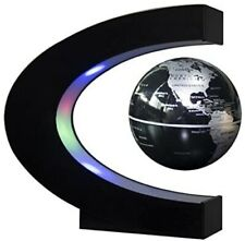 Levitating C-Shape Magnetic Globe with LED Lights | Floating World Map (Silver)