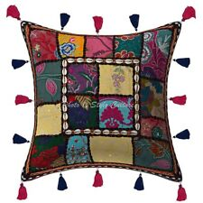 Decor Cotton Chair Cushions Black 16 x 16 Inch Patchwork Floral Pillow Covers