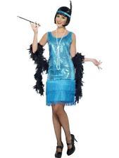Smiffys Flirty Flapper Costume - Female - Teal - UK Dress 20-22