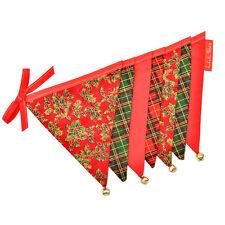 Christmas Bunting Double Sided Fabric Decorations Jingle Bells Tartan Hogmanay