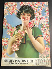 St Louis Post Dispatch Calendar Sign Pretty Flapper Girl 1925 With Flowers