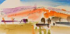 JOSE TRUJILLO ORIGINAL Sm Watercolor Painting 3x6 Expressionist Southwest Desert