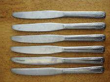 """FLINT Vntg Stainless NEW LOOK 6 SOLID HANDLE KNIVES 9"""" Art Deco Pattern VG 778"""