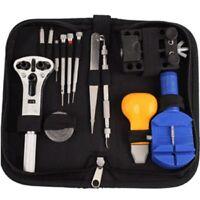 13Pcs Watch Repair Tool Set Kit Opener Remover Spring Bar Hammer Carrying Case