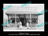 OLD LARGE HISTORIC PHOTO OF MELBOURNE VICTORIA, THE FISCHER MATTRESS SHOP c1900