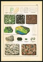1888 Labradorite Gemstones, Granite, Rocks & Minerals, Antique Geology Print