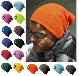Mens Ladies Womens Beanie Hat Knitted Wooly Oversized Winter Slouch Hat Plain