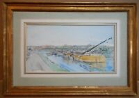 Barges Beverley Beck. Watercolour by listed artist Robert Purves Flint RSW 1921
