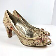 Bandolino Women's 8.5M Dacoda Tan Floral Patent Leather Heels Pumps Bow NWOB