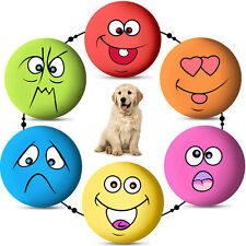 6pcs Uniex Latex Dog Puppy Play Squeaky Ball With Face Fetch Toy Bright Color