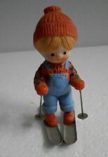 Vintage 1980s Country Cousin Katy Skiing Enesco Porcelain Figurine Redhead Katie