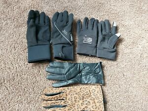 3 Pair Ladies Winter Glove bundle M/L leather, waterproof and tech thumb/finger