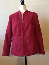 TanJay Red Fully Lined Zippered Suede Like Jacket Size 12P EUC