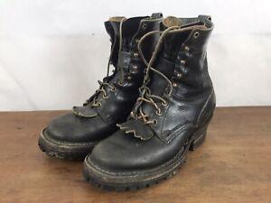Vtg. White's Handmade Black Leather Logger Packer Work Boots Mens 8D Spokane USA