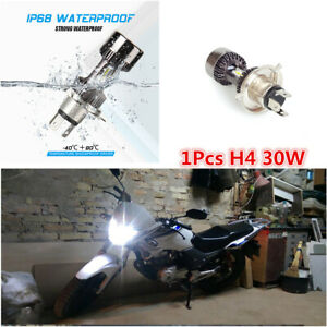 Motorcycle Scooter LED Headlight High Low Beam H4 White 6000K 30W DRL Light Bulb