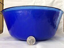 VINTAGE YALOS CASA MURANO ART GLASS TEXTURED COBALT BLUE BOWL W/ WHITE INSERT