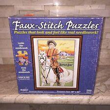 BUFFALO BILL FAUX NEEDLEWORK STITCH FEEL 500 PC JIGSAW PUZZLE