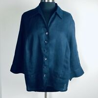 Talbots Women's Size 14W Irish Linen Jacket Navy Blue Light Weight Button Front