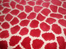 3Y new Clarence House OKAPI cut Velvet Epingle fabric in RED animal design