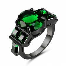 Size 6 Vintage Green Emerald Crystal Wedding Ring 10k Black Gold Filled Jewelry
