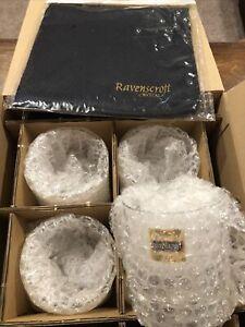 "New Ravenscroft Crystal Distiller Taylor Double Old Fashioned Glass 4"" Set of 4"