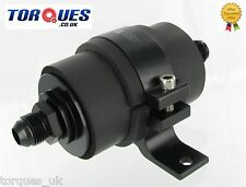 AN-6 (AN6 JIC-6) Black Anodised High Flow Billet Fuel Filter 30 Micron + Cradle