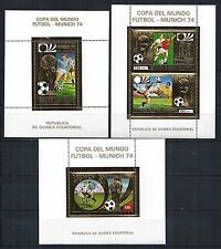 GUINEA ECUATORIAL 1973 BLOCK SET 80 - 82 ** FIFA WORLD CUP GERMANY GOLD STAMPS
