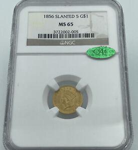 1856 NGC & CAC MS65 Slanted 5 Gold Dollar $1